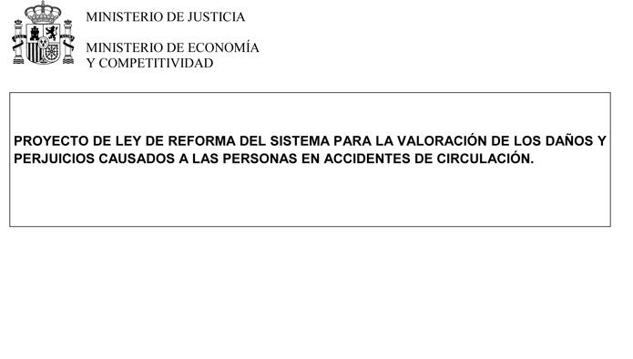 Consulta el texto del Proyecto de Ley de la reforma del baremo