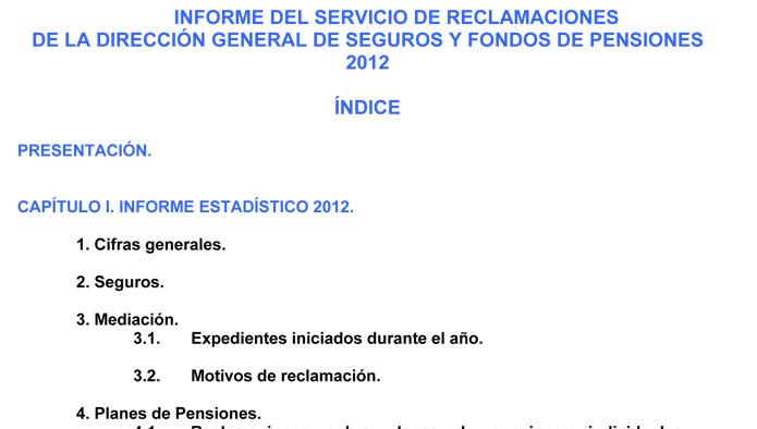 Informe Anual 2012 del Servicio de Reclamaciones de la DGSFP